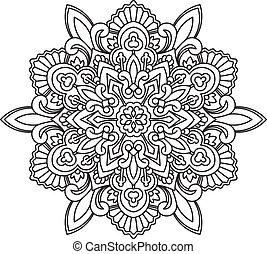 Abstract Vektor schwarz rundes Spitzendesign - Mandala, ethnische dekorative Element. Kann als Antistresstherapie verwendet werden.