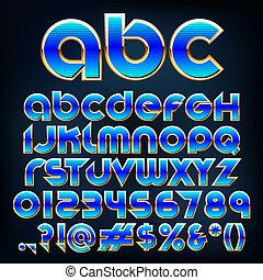 Abstract Vektorgrafik einer blauen metallischen Schriftart.