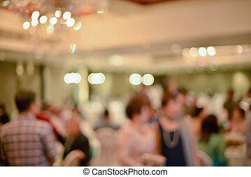 Abstract verschwommen der Hochzeitszeremonie in der Kongresshalle.