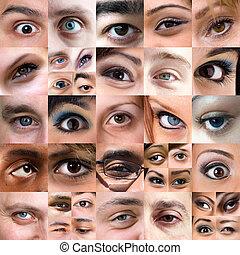 Abstract Vielfalt der Augen Montage.