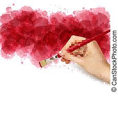 Abstract Watercolor Hintergrund mit Hand. Vector Illustration