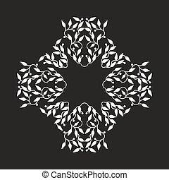 Abstract white color frame design, isolierte Vorlage auf schwarzem Hintergrund. Der Kreis hat mit Blättern Emblem gemacht. Spa-Konzept Monogramm, natürliche Marke. Vector Dekoration für Mode, Kosmetik, Schönheitsindustrie