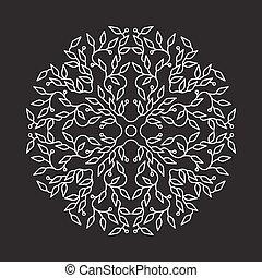 Abstract white color logo design, isolierte Vorlage auf schwarzem Hintergrund. Der Kreis hat mit Blättern Emblem gemacht. Spa-Konzept Monogramm im linearen Stil. Vector Dekoration für Mode, Kosmetik, Schönheitsindustrie