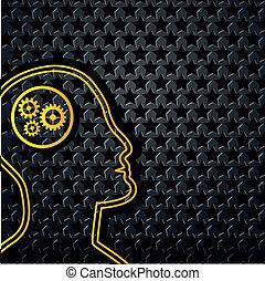 Abstract Yellow Technologie Kopf auf Sternenhintergrund.