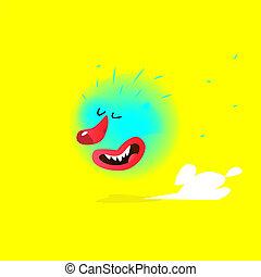 abstrakt, character., vector., bild, freigestellt, karikatur, abbildung, fliegendes, kinder, creature., monster, company., reizend, cloud., reizend, zeichen, gelber , hintergrund., maskottchen