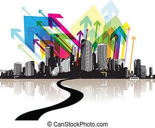 abstrakt, city., abbildung