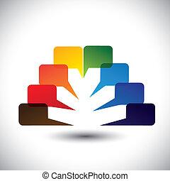 Abstrakt farbenfrohe Redebläschen oder Chat Ikons Vektor