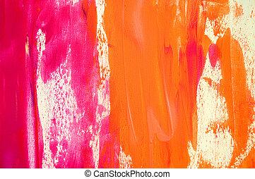 Abstrakt gemalter rosa und oranger Hintergrund