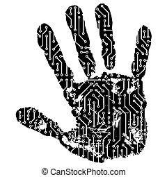 abstrakt, hand