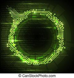 abstrakt, hintergrund, vektor, grün, technisch