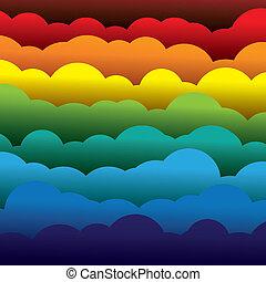 abstrakt, orange, farben, papier, (backdrop), schichten, enthält, -, gelber , graphic., 3d, blaues, bunte, gebildet, abbildung, hintergrund, gebrauchend, rotes , wolkenhimmel, mögen, dieser, vektor, grün