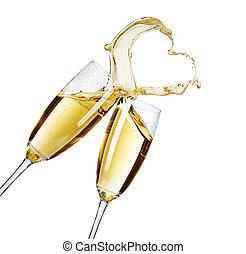 abstrakt, spritzen, zwei, brille, champagner