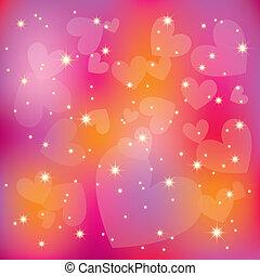 Abstrakt st valentinefarbene Herzen leuchten im Hintergrund