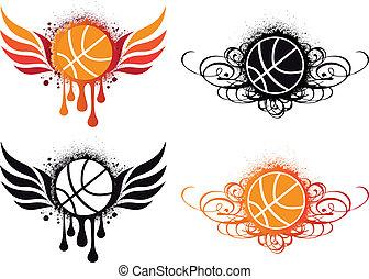 abstrakt, vektor, basketball