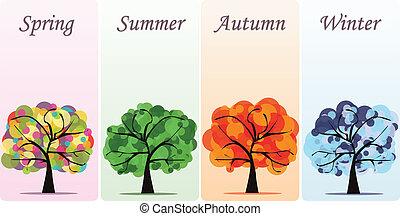 abstrakt, vektor, jahreszeiten, bäume