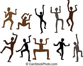 Abstrakte ethnische Tanzmänner. Vektor Illustration