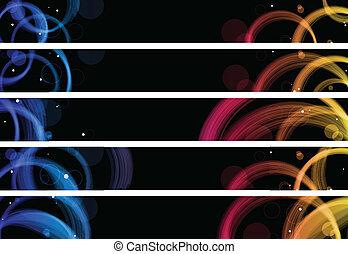Abstrakte farbenfrohe Kreise Web-Banner. Größe 728x90 PX