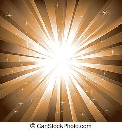 Abstrakte funkelnde Sterne auf goldenem Hintergrund