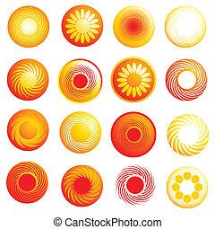 Abstrakte Glossy-Sonnen-Ikonen