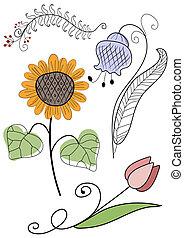 Abstrakte Handarbeitsblumen
