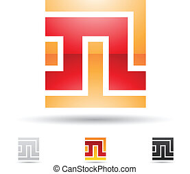 Abstrakte Ikone für Buchstaben N