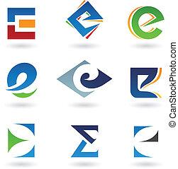 Abstrakte Ikonen für Buchstaben E