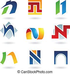 Abstrakte Ikonen für Buchstaben N