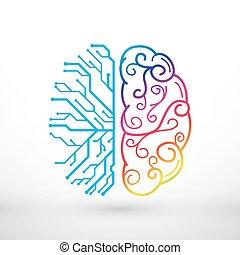 Abstrakte Linien links und rechts Gehirnfunktionen Konzept, analytische vs Kreativität.