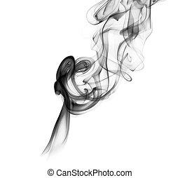 Abstrakte Rauchkurven über dem Weiß.