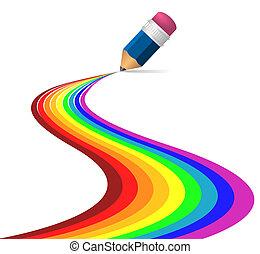 Abstrakte Regenbogenkurven von Bleistift