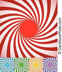 Abstrakte Spiralhintergründe, verdrehte, rotierende Radiallinien.