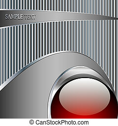 Abstrakte Technologie Metallischer Hintergrund mit rotem Ball.