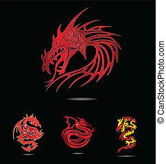 Abstrakte und Traditionsreligionen rote Drachen