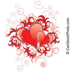 Abstrakte Valentinsgeschenke mit Herzen und Blumen