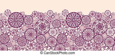 Abstrakte Zierdekreise horizontale, nahtlose Mustergrenzen