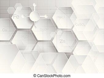 Abstrakter chemischer Hintergrund in grauem und weißem Ton in Konzept von Papierschnitt und flachem Design.