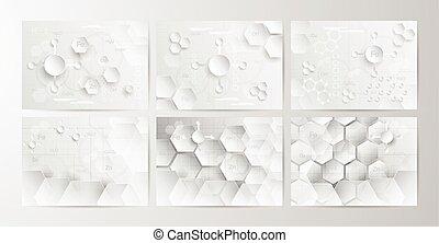 Abstrakter chemischer Hintergrund in grauem und weißem Ton in Konzept von Papierschnitt und flachem Design. Vector Illustration in digitalcraft.