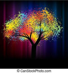 Abstrakter farbenfroher Baum. Mit Kopienraum 8