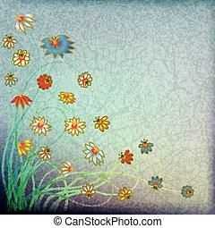 Abstrakter grungefarbener Blumen Hintergrund