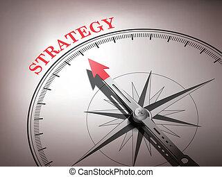 Abstrakter Kompass mit der Nadel, die das Wort Strategie zeigt.
