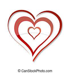 Abstrakter Liebesschwirr symbolisiert rote Farbe