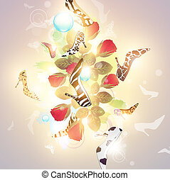 Abstrakter modischer Blumen-Hintergrund mit Frauenschuhen.
