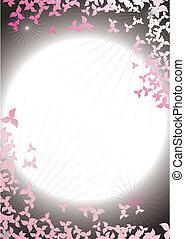 Abstrakter Rahmen von Blütenblättern im Hintergrund des Nachthimmels