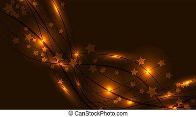 Abstrakter Raumhintergrund mit gelben leuchtenden Wavy-Linien und Leuchtfackeln und Sternchen. Goldstars und Streifen auf gelbem Hintergrund und kopieren Raum. Vector Illustration