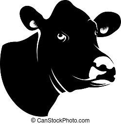 Abstrakter schwarzer Kuhkopf.