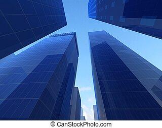 Abstrakter Winkel von blauen Glashäusern