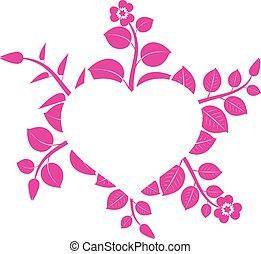 Abstraktes Herz mit Blumen gerahmt.