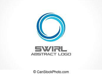 Abstraktes Logo für die Geschäftsgesellschaft. Eco, nature, whirlpool, spa, aqua swirl Logotype Idee. Wasserspirale, blauer Kreis drei Segmentmix Konzept. Farbiges Vektorsymbol