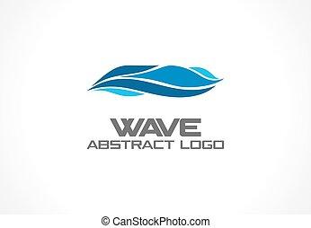 Abstraktes Logo für die Geschäftsgesellschaft. Eco Ocean, nature, whirlpool, spa, aqua swirl Logotype Idee. Wasserwelle, Spirale, blaues Meer Konzept. Farbiges Vektorsymbol