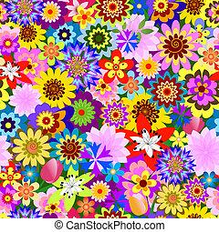 Abstraktes, nahtloses Blumenmuster (Vektor)